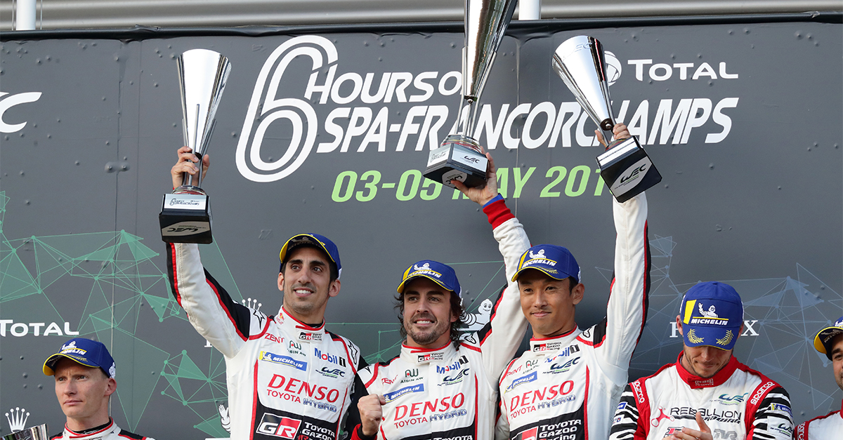 The winners of the Total 6 Hours of Spa-Francorchamps: Sébastien Buemi and  Fernando Alonso, Kazuki Nakajima