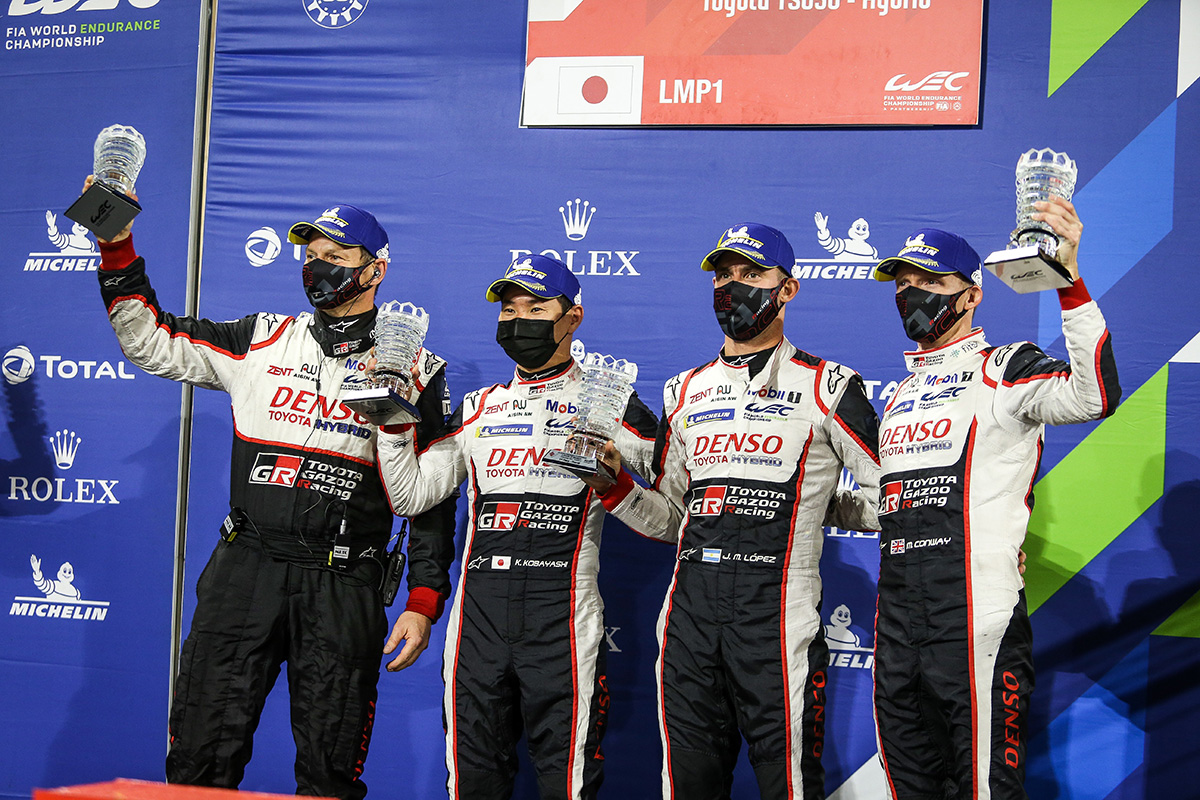 Mike Conway, Kamui Kobayashi and Jose Maria Lopez, who won the final round of the 2019-2020 FIA World Endurance Championship (WEC)