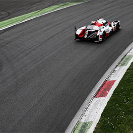 An updated TS050 HYBRID #7 in the Parabolica at Monza