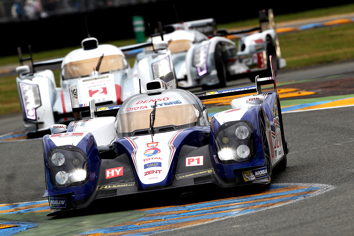 The TS030 HYBRID car number 8 driven by Anthony Davidson, Sébastien Buemi and Stéphane Sarrazin competed in the 24 hours of LeMans 2013 season.