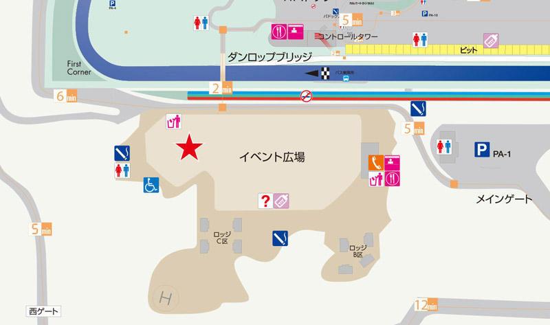 岡山国際サーキットにオープンする「TOYOTA GAZOO Racingブース」の場所